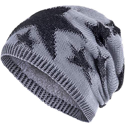 Compagno Sternen Wintermütze warm gefütterte Beanie sportlich-elegantes Flechtmuster mit weichem Fleece-Futter Mütze, Farbe:Hellgrau