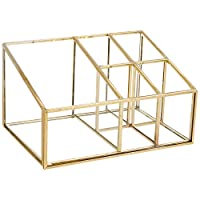PuTwo Organiser Vintage 5 Compartments Cosmetic Organiser Glass & Metal Makeup Storage - Gold