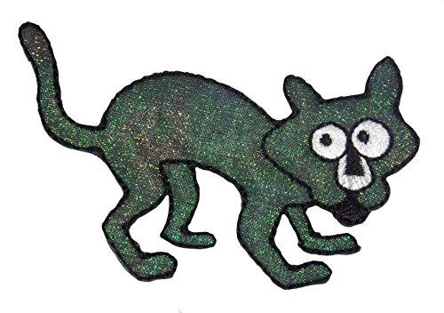 Halloween Katze schwarz gesticktes Eisen auf Aufnäher