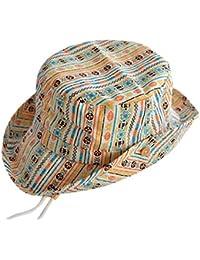 Tangda Chapeaux de Soleil Bob Hat Protection Bonnet avec Cordon en Coton Pour Bébé Fille Garçon Camping Tour de Tête 46-52CM 9mois-6ans