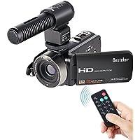 Kamera Camcorder, Besteker Tragbarer leichter Camcorder 16X Digital Zoom Videokamera FHD 1080P 24.0MP 3.0Inch Drehbarer TFT LCD Bildschirm mit externem Mikrofon und Fernbedienung