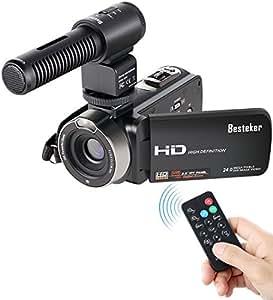 Caméscope FHD 1080P Besteker Zoom Numérique 16X, Caméra Vidéo 24.0 MP, Ecran TFT LCD Rotatif 3.0 Pouces avec Microphone Externe et Télécommande