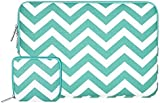 MOSISO Laptop Sleeve, Canvas Fabric Case Bag Cover for 12.9 iPad Pro / 13-13.3 Inch MacBook Air/ Pro /Laptops / Notebook Ultrabook with Small Case for MacBook Charger or Magic Mouse, Chevron Hot Blue