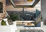 New York Skyline Der Stadt 3D-Dachfenster-Ansicht Vlies Fototapete Fotomural - Wandbild - Tapete - 208cm x 146cm / 2 Teilig - Gedrückt auf 130gsm Vlies - 10416VEXL - New York