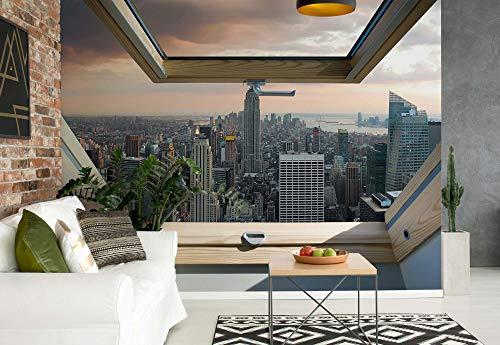 fototapete dachfenster New York Skyline Der Stadt 3D-Dachfenster-Ansicht Fototapete Fotomural - Wandbild - Tapete - 254cm x 184cm / 2 Teilig - Gedrückt auf 115gsm Muralpapier - 10416P4 - New York