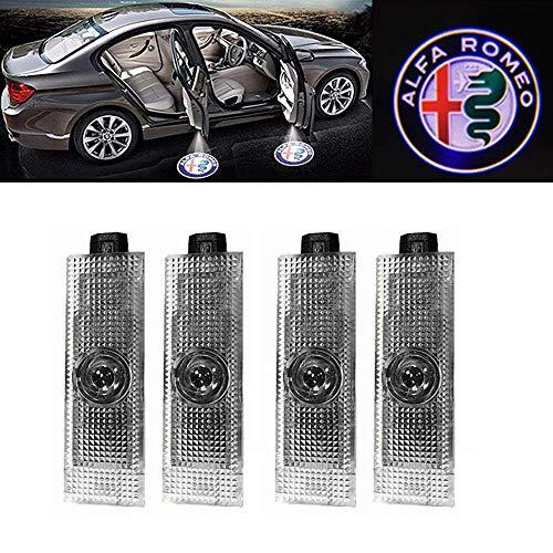 Preisvergleich Produktbild HConce Stelvio Giulia Giulietta Mito Brera Spider Autotür Licht Logo Projektion 4 Stück
