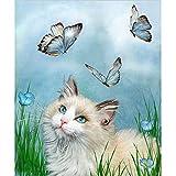 Vovotrade DIY 5D Diamant Malerei, Kristall Strass Diamant Stickerei Gemälde Bilder Kunsthandwerk für Hauptwanddekor Katze, Schmetterling 30x30cm