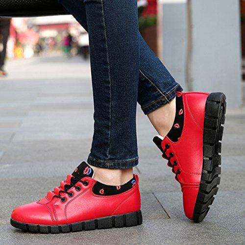 Damen Sneaker Glattleder-Optik Schnüeschuhe Mit Flache Gummi Sohle Lässige Frezeit Fahrschuhe Rot