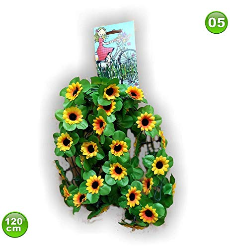 Unbekannt Fahrradgirlande Blumengirlande Sonnenblume gelb 120 cm