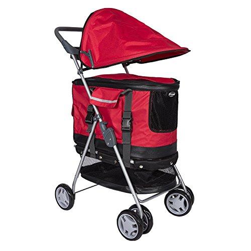 Petcomer Pet Stroller Travel 4 Wheels Dog Cat Pushchair Trolley Pram Puppy Jogger Foldable Carrier Strolling Cart (Red)