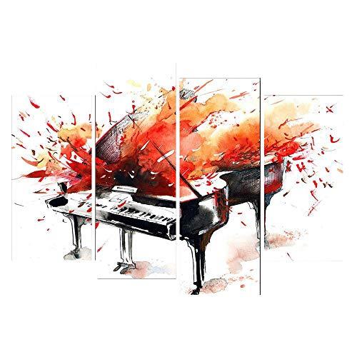Olydmsky Quadri Moderni,Arte della Parete per Soggiorno Camera da Letto Quad Canvas Pianoforte Rosso Astratto Muro Senza Telaio