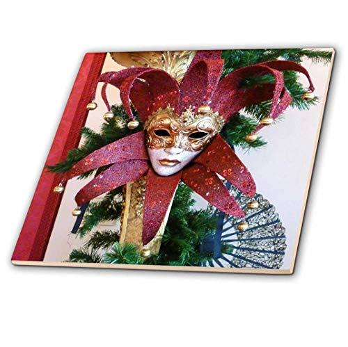 3dRose ct_37256_3 Vintage Mardi Gras Maske Keramik Fliese Rot und Gold 20,3 cm