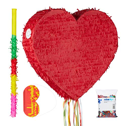 ata Set Herz rot, XXL Konfetti Sack 0,28 kg, Pinatastab mit Augenbinde, Herzpinata, Pinatastock & Maske, bunt ()