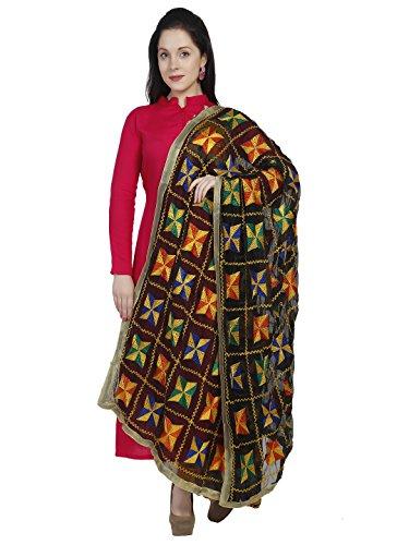 Dupatta Bazaar Women's Black & Multi Colour Phulkari Embroidery Chiffon Dupatta