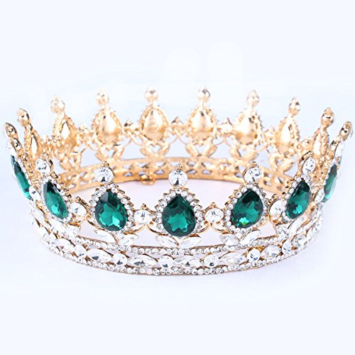 Santfe Tiara Diadema Con Rhinestones Para Fiesta Boda Novia Boda Corona de cristal Prom Party (Dorado Verde)