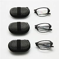 EnzoDate 3 pares Pack mini plegables gafas de lectura con estuche, + 1,0 a + 3,5 hombres mujeres plegable presbicia hipermetropía lector de bolsillo (Fuerza + 1,0)