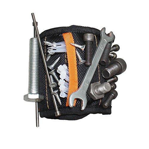 Magnetisches Armband, Magnetische Armbänder, HUYU Handsfree Armband mit 15 starken Magneten, 2 kleinen Taschen, Ideal für Holding Werkzeuge, DIY, Schrauben, Dübel, Nägel, Bits, Kleinwerkzeuge etc.