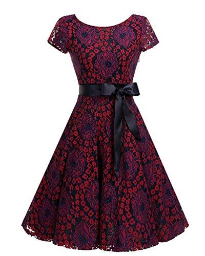 Damen Elegant Rundhals Spitzekleid Abendkleid Festkleid Cocktailkleid Partykleid Skaterkleid Ballkleid Kurzarm Weinrot