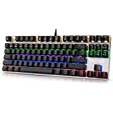 Hcman 87 Keys Backlit Mechanical Gaming Keyboard Blue Switches, Anti-ghosting Perfect For PC & Mac Gamers (Black)