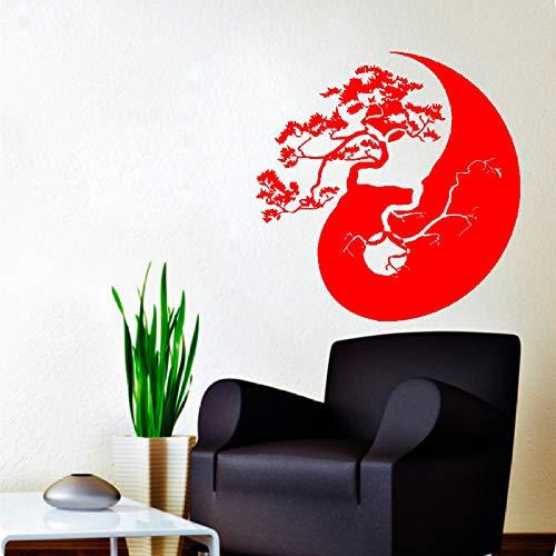 Baum Bonsai Yin Yang Muster Kunst Entworfen Wandaufkleber Home Wohnzimmer Mode Stilvolle Wandbilder Vinyl Abnehmbare Aufkleber rot 60x60 cm -
