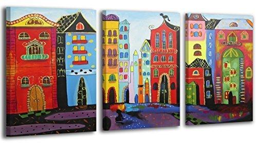100% HANDMADE + certificato / Quadro dipinto con colori acrilici Città da sogno / dipinti su tela con lettiga in legno / artigianali / Comodo fissaggio alla parete / Arte Contemporanea /120x80 cm
