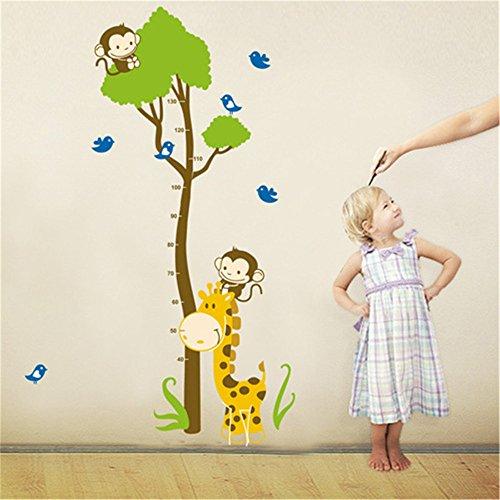 Height Chart Wandaufkleber Kids Wachstum Diagramm Wandtattoo Messen Wandaufkleber Eule, Giraffe, Löwe und Affe Baum Maßband Messlatte Wandsticker Vinyl Poster herausnehmbar für Kinderzimmer Dekoration (Monkey Tree) (Giraffe Wachstum Wandtattoo Chart)