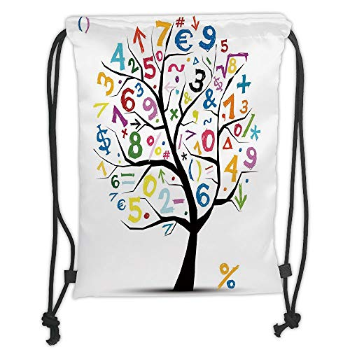 LULUZXOA Gym Bag Printed Drawstring Sack Backpacks Bags,Mathematics Classroom Decor,Art Tree with Colorful Numbers Math Symbols Fun Kids Drawing Decorative,ri