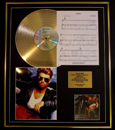 george-michael-cd-gold-disc-song-sheet-photo-display-ltd-edition-coa-album-faith-song-sheet-faith