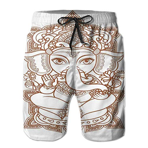 MIOMIOK Mens Beach Shorts Swim Trunks,Asian Figure with Paisley Ornaments Elephant Symbol of Zen Love Boho Artwork,Summer Cool Quick Dry Board Shorts Bathing SuitL