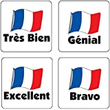 """Primary Teaching Services B57 16 mm """"Mixed French"""" Square Stickers (Sheet of 140)"""