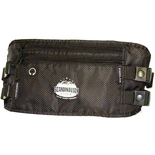 Flache Bauchtasche Hüfttasche Geldgürtel mit Kopfhörereinlass RFID-Blocker Flexi-Schlüsselband 2 Hüftgurten für Damen und Herren - wasserabweisend - für Outdoor Aktivitäten Sport und Reisen schwarz (Schwarze Plus Magie)