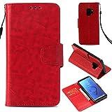 BoxTii Coque Galaxy S9, Etui Portefeuille, Anti-Rayures Coque en PU Cuir avec Gratuit Protection D'écran en Verre Trempé pour Samsung Galaxy S9 (Rouge)