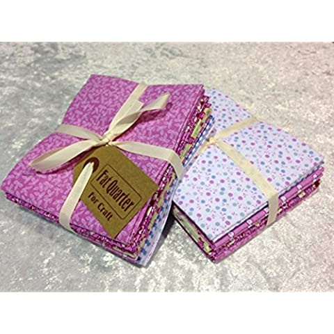 The Craft Cotton - Lotto di scampoli di tessuto per patchwork, misure 45,72 x 55,88 cm, colore: rosa - Quarter Fat Fq Bundle