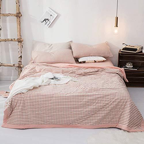 AUMING Steppdecke Tagesdecke Home Bettüberwurf 3-teiliges, waschbares, dünnes Tröster-Set aus 100% Baumwolle (bestehend aus 1 Steppdecke und 2 Kissenbezügen) (Color : Pink, Size : 200x230cm) -