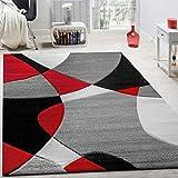 Paco Home Tappeto di Design Moderno Motivo Geometrico Taglio Sagomato in Rosso Nero Grigio, Dimensione:80x150 cm