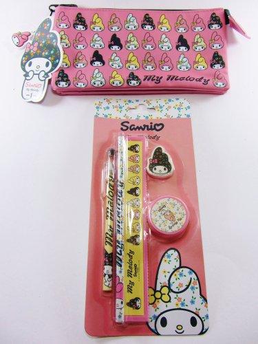 My Melody Hello Kitty 's Friend–Bunny Kaninchen Federmäppchen mit 3Fächern und Schreibwaren-Set enthält: Lineal, Bleistift, Kugelschreiber, Anspitzer und - Lineal-set Kitty Hello