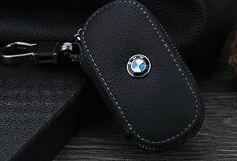 Luxury BMW Cuir Noir Housse à distance Porte-clés FOB Housse