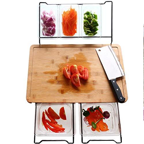 aheadad Schneidebrett, Multifunktionales Schneidebrett Aus Holz Sichere Antibakterielle Küchenwerkzeuge Mit Ablageschale Rechteckiges Tragbares Schneidebrett Für Gemüsefruchtfleisch -