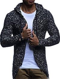 LEIF NELSON Herren Strick-Jacke mit Reißverschluss   Casual Strick-Hoodie  Dünn Slim Fit 90d0a7d003