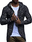 LEIF NELSON Herren Strick-Jacke mit Reißverschluss | Casual Strick-Hoodie Dünn Slim Fit | Moderner Männer Strick-Cardigan Langarm Kleidung Männer