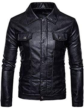 Zhhlinyuan Lightweight Long Sleeve Solid Color Button Zipper PU Leather Moto Biker Jacket chaqueta Coats Coat...