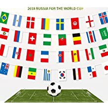 Cheap4uk 2018 Football World Cup Bunting, FIFA World Cup Top 32 Nations Small Flags Fabric Bunting Flags for Football Night, Garden Banners, Bar and Garden Decoration