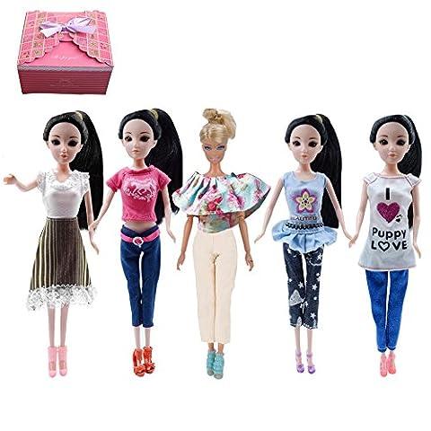 TIME4DEALS 5 Sets Casual Fashion Handgefertigte Kleider mit Geschenkbox für Puppe Barbie Kleider / Kleider / Puppe Kleid