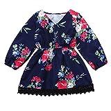 Kobay Babykleid Mädchen Weihnachten Winter Langarm Spitze Blumendruck Kleid Outfit Kleider Kleidung(18-24M,Marine)