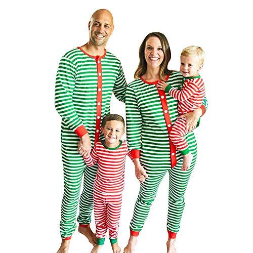 Kinder-weihnachts-pyjamas (Familie Pyjama Vovotrade passende Weihnachten Streifen Pyjamas Herren Damen Junge Mädchen Kinder Nachtwäsche Nachtwäsche Overall Grün Rot)