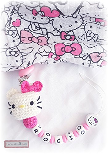 PACK Chupetero Crochet Hello KITTY PERSONALIZADO