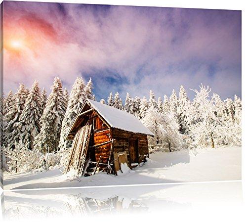 Capanna di legno in mezzo alla neve, pittura su tela, Immagini XXL completamente incorniciate con grandi cornici di cuneo, foto muro Stampa artistica con cornice, più economico di pittura o di un dipinto a olio, non un manifesto o un carte, Leinwand Format:120x80