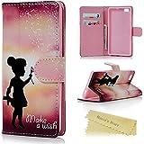 Huawei P8 Lite Funda de PU Cuero Suave - Mavis's Diary® Carcasa para Huawei P8 Lite Con [Flip Case Cover] [Cierre Magnético] [Función de Soporte] [Billetera con Tapa para Tarjetas]-Diseño de Inglés Make Wish