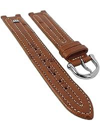Maurice Lacroix für Calypso/Scala | Ersatzband Uhrenarmband Straußenleder braun matt 30036, Stegbreite:14mm, Schließe:Silbern