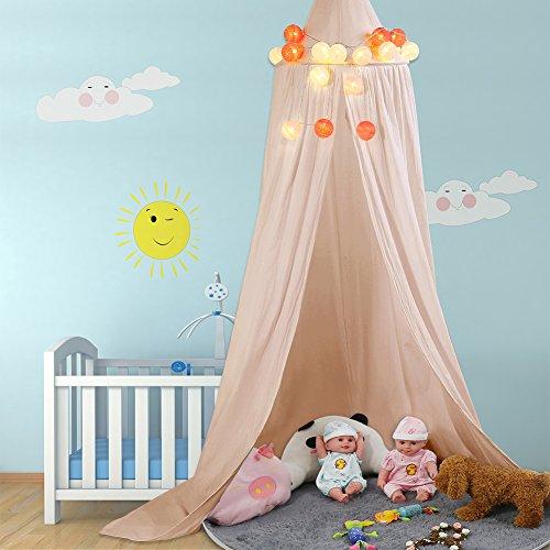 Tenda da gioco Bambini Principessa giocare baldacchino Tettuccio in cotone canvas per bambini buona circolazione dell'aria con strumenti di installazione altezza 235cm Decorazione della stanza dei bambini